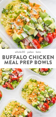 This Whole30 buffalo chicken ranch meal prep is Whole30 meal prep perfection! Totally loaded with flavor, protein, healthy fats, and fiber, this Whole30 meal prep is the best way to go into lunch swinging. With cauliflower rice and homemade ranch dressing, this Whole30 buffalo chicken ranch meal prep is one of my very favorite Whole30 meal prep recipes for sure. #whole30 #mealprep #lowcarb #cleaneating