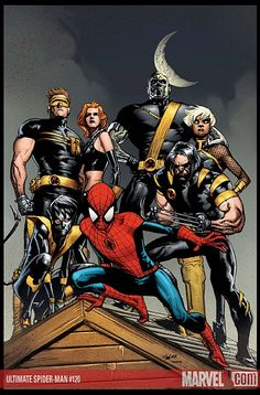 Spider-Man and the X-Men (cover to Ultimate Spider-Man Vol. 1 #120)