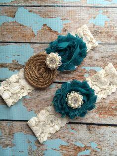 $28.99 TEAL  & Burlap garter /wedding garter / bridal  garter /  garter / barn rustic wedding garter / vintage inspired lace garter