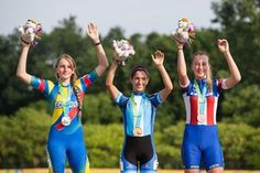 July 13 - Roller Sports - Speed Skating - Women's 10000m Points.  Women's podium finishers in the 10,000m speed skating event. Left to right, Emma Clare Townshend of Ecuador (silver), Maira Arias of Argentina (gold), and Darian O'Neil of USA (bronze). Pan American Games - Speed Skating finals at Pope John Paul II on July 13, 2015.