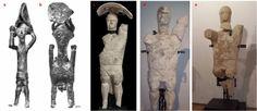 """Fig. 1. a. bronzetto di """"pugilatore"""" (Giovanni Lilliu, Sculture della Sardegna nuragica, Illisso editore, 1966, nr. 64); b. demone o divinità antropozoomorfo ( Lilliu, nr. 267); c-e: alcune statue restaurate di Monte Prama (Cabras, OR)"""