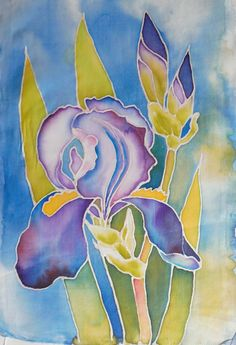 Malowanie na jedwabiu Alcohol Ink Crafts, Batik Art, Batik Pattern, Flower Sketches, Silk Art, Punch Needle, Fabric Painting, Bookmarks, Iris