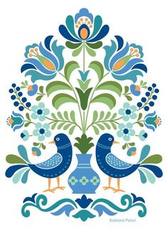 Hungarian Folk Art Blue Birds Hungarian Folk Art Print This is an image created in Adobe Illustrator and inspired by the beautiful folk designs of Hungary. The image is printed on museum quality fine art paper. Choice of three print sizes: 5 Hungarian Embroidery, Folk Embroidery, Hungarian Tattoo, Folk Art Flowers, Flower Art, Red Flowers, Art Floral, Pintura Tole, Bordado Popular
