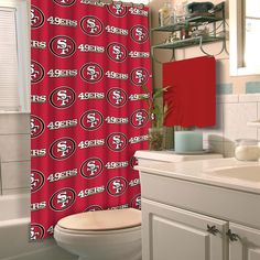 Show off your team spirit in your bathroom with this San Francisco shower curtain featuring your favorite NFL football team's logo! This San Francisco fabric shower curtain measures 72 x 72 inches and is intended to be used with a shower curtain liner. Nfl 49ers, 49ers Fans, Nfl Football, Football Season, 49ers Kaepernick, Bathtub Accessories, Nfl San Francisco, Fabric Shower Curtains, Cool Things To Buy