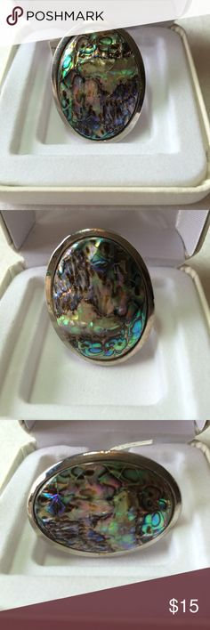 """Beautiful Abalone Ring - Adjustable Gorgeous abalone cab ring that anyone can wear.  Multi colored, iridescent and shiny!  Measures approx. 1.5"""" by 1.125"""" and is lightweight and comfortable.  Thanks for checking out my closet! Unbranded Jewelry Rings"""