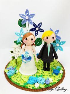 Paper Quilling Wedding decoration - in garden,Bride and Groom, paper quillied wedding,wedding cake topper,wedding gift, paper art, wedding