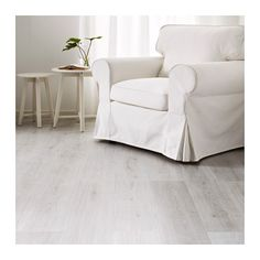 TUNDRA Laminated flooring, white whitewash oak effect - IKEA Nordic Home, Wet Rooms, Minimalist Decor, Decorating On A Budget, Laminate Flooring, Modern Furniture, Armchair, New Homes, Inspiration