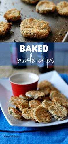 Lightly breaded pickle chips are crispy on the outside without any heaving frying.  Fun, light  and figure friendly!