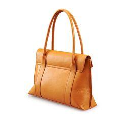 Simple Designer Calfskin Leather Shoulder Bag in Orange | iCarryalls Leather Fashion