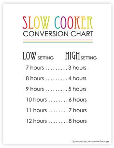 Slow-Cooker Conversion Chart Printable: Make your cock pot work with YOUR schedule. Use this handy little conversion chart to modify cooking times for your recipes. *This Swedish Meatball recipe sounds delicious! Crock Pot Cooking, Cooking Tips, Cooking Recipes, Vegetarian Recipes, Healthy Recipes, Slow Cooker Recipes, Crockpot Recipes, Pasta Recipes, Honey Glazed Ham