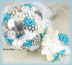 Brooch Bouquet and Matching Boutonniere Wedding Bouquet Bridal Bouquet in Ivory, Turquoise and White on Etsy, $350.00