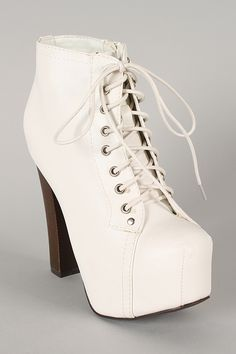 Breckelle Britney-02 Leatherette Lace Up Round Toe Platform Bootie $32.90