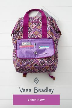 7d4d2dae1b This backpack is unusual because the frame opening allows for the top to  open wide for. Vera Bradley