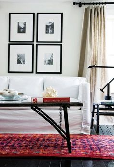 Revive worn wood floors with a fresh coat of paint |Photo Gallery: Budget Living Room Decorating Tips | House & Home | photo Janet Kimber