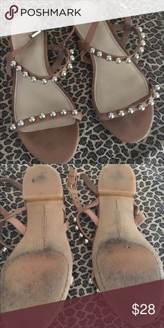 Vince Camuto flats Tan cute flats.  The balls on top of straps are gold. These shoes are a 7 but they run snug. Vince Camuto Shoes Flats & Loafers