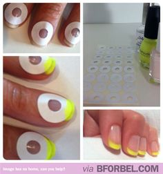 to do a French Manicure. Effortlessly How to do a French Manicure: quick and easy sticker or tape tutorial!How to do a French Manicure: quick and easy sticker or tape tutorial! Do It Yourself Nails, How To Do Nails, Neon French Manicure, French Pedicure, Beauty Nails, Diy Beauty, Fashion Beauty, Latest Fashion, Beauty Makeup