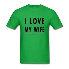 Hip Hop Short Sleeve Organic Cotton I Love My Wife Men t shirt Love Fishing Male t shirt Cheap Sale