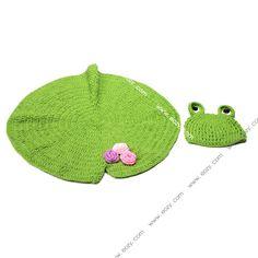 Baby Velvet Crochet Beanie Photography Green Frog Hat Lotus Leaf Flower Set #eozy