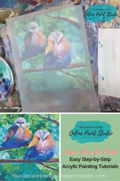 I am so excited to share this new Online Paint Party experience with you! So many people loved my little birds I decided Canvas Painting Tutorials, Acrylic Painting For Beginners, Acrylic Painting Lessons, Painting Studio, Beginner Painting, Painting Videos, Painting Art, Pour Painting, Painting Techniques