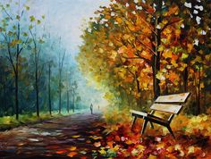 Autumn Park - Palette Knife Oil Painting On Canvas By Leonid Afremov Painting