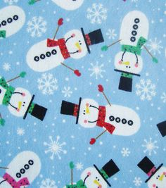 Holiday Inspirations Fabric-Christmas Snowman Flannel