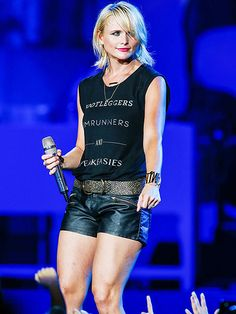 Miranda Lambert feels the beat – and shows off her hot gams! – during a performance in Virginia Beach, Virginia, on Tuesday.