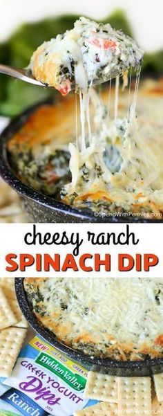 This Cheesy Ranch Spinach dip recipe is packed with spinach and peppers and fully loaded with delicious ranch flavor! It can easily be prepped ahead of time for a delicious dip perfect for any party! #Dips #HolidayAppetizers #Holidays #Spinach