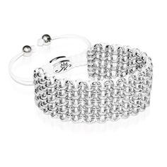 Silver Kismet Links Bracelet   White   Deluxe