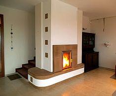kandallószerű-cserépkályha Contemporary Kitchen Renovation, New Homes, Backyard, Wood, Stoves, House, Home Decor, Wood Burning Fireplaces, Houses