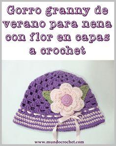 Patron gorro granny de verano para nena con flor en capas a crochet o ganchillo