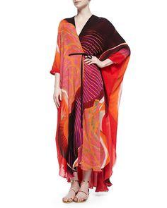 B2WX7 Roberto Cavalli Nika Mixed-Print Charmeuse Caftan, Orange/Red