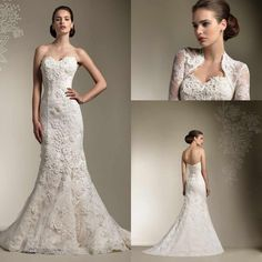 Discount 2015 Winter Elegant Ivory Lace Wedding Dresses Beach Bridal Gowns with Free Jacket Mermaid Sweetheart Pleated Wedding Gown Dress Vestidos Online with $143.16/Piece | DHgate