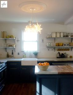 concrete and bamboo butcher block countertop side-by-side