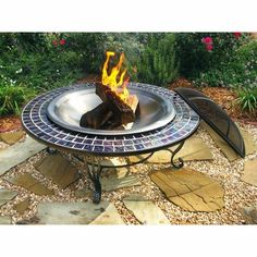 Round Glass Mosaic Fire Table with FREE Cover - Fire Pits at Hayneedle Glass Fire Pit, Metal Fire Pit, Wood Burning Fire Pit, Round Fire Pit Table, Fire Table, Garden Fire Pit, Fire Pit Backyard, Blue Glass Tile, Mosaic Glass