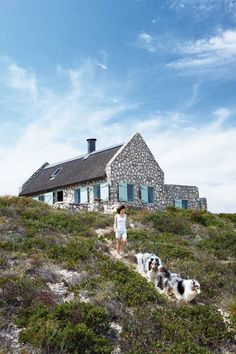 light blue shutters with our stone!     paternoster beach cottage   House and Leisure