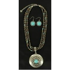 This set goes with every look!  M&F Turquoise Hammered Medallion Jewelry Set