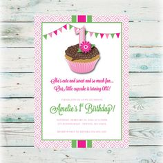Printable Cupcake Birthday Invitation  Digital by BeyondDigital