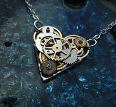 "Clockwork Heart Necklace ""love-o-matic"" Mother's Day Industrial Heart Steampunk…"