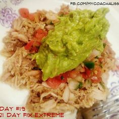 My Day 19 Fix Extreme dinner was goooooood! Green Chile Pork with pico de gallo and guacamole (for you Fixers, this is 1 red, 1 green, & 2 tsps). I have been asked a LOT about the meal plan for Fix Extreme and whether it's hard or involves crazy foods or lots of separate meals from my family. My answer? It's definitely a challenge to go 3 weeks with no treats... but the results make it super worth it. As for crazy foods or separate meals, absolutely not. That's a huge requirement for me... I nee