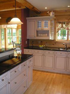 white kitchen in log home #home #decor