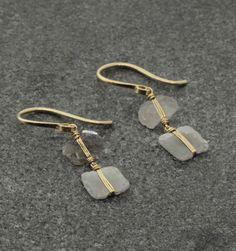 """Dana Kellin Diamond Slice Drop Earrings - 14K Gold and Diamond Slice Drop Earrings on Wire, approximately 1"""" in length"""