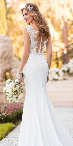 21 Lovely Lace Back Wedding Dresses ❤ lace back wedding dresses mermaid with buttons illusion stella york ❤ Full gallery: https://weddingdressesguide.com/lace-back-wedding-dresses/ #bridal #bridalgown #laceweddingdresses