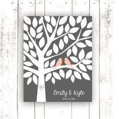 Guest Book Alternative for 50 Guests - Wedding Guest Book in Peach and Grey