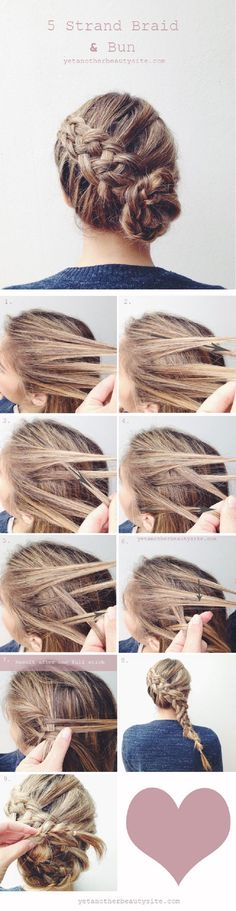 5 Strand Braid Bun - 16 Heatless DIY Hairstyles To Get You Through The Summer GleamItUp #HairStyles