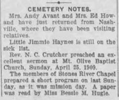 Cemetery Notes April 30, 1909 :: Cemetery, a Freedmen's Community, Rutherford County, Tennessee
