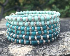 Teal Blue Ombré Multi Strand Memory Wire Coil Bracelet With Custom Clover Charms