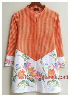 Blouse Batik, Batik Dress, Patchwork Dress, Stylish Dresses For Girls, Stylish Dress Designs, Designs For Dresses, Kaftan Designs, Kurta Designs Women, Batik Fashion