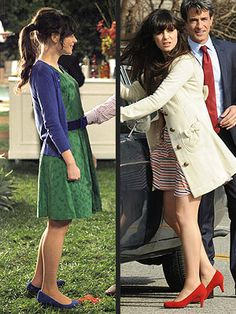 the colors & cardigan + dress + flats is absolutely what I wear. Love her hair and shoes in this.