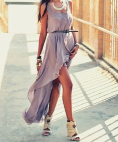 Purple Dress. Love this take on the high-low trend. So gorgeous!