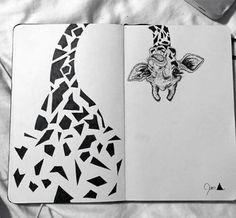 Grafic geometric giraffe drawing #art #draw #giraffe
